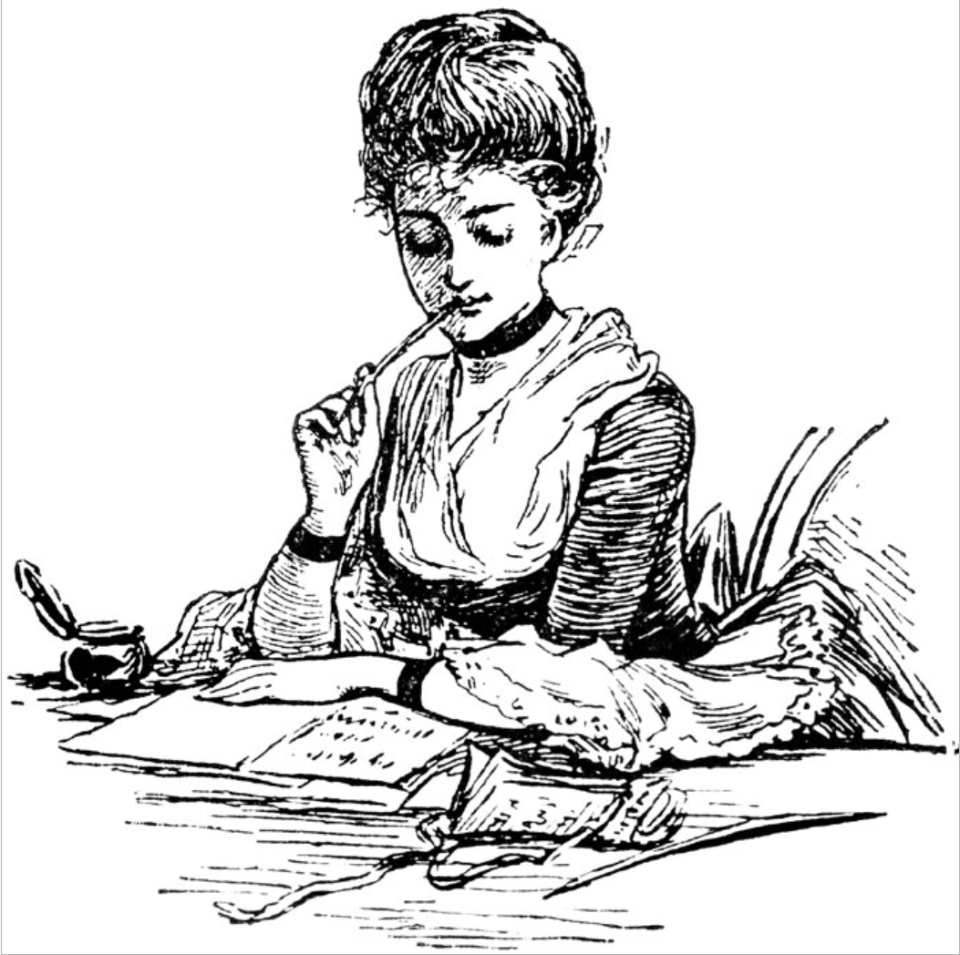 Period photo of female writing with quill twenty-spot loans with no credit